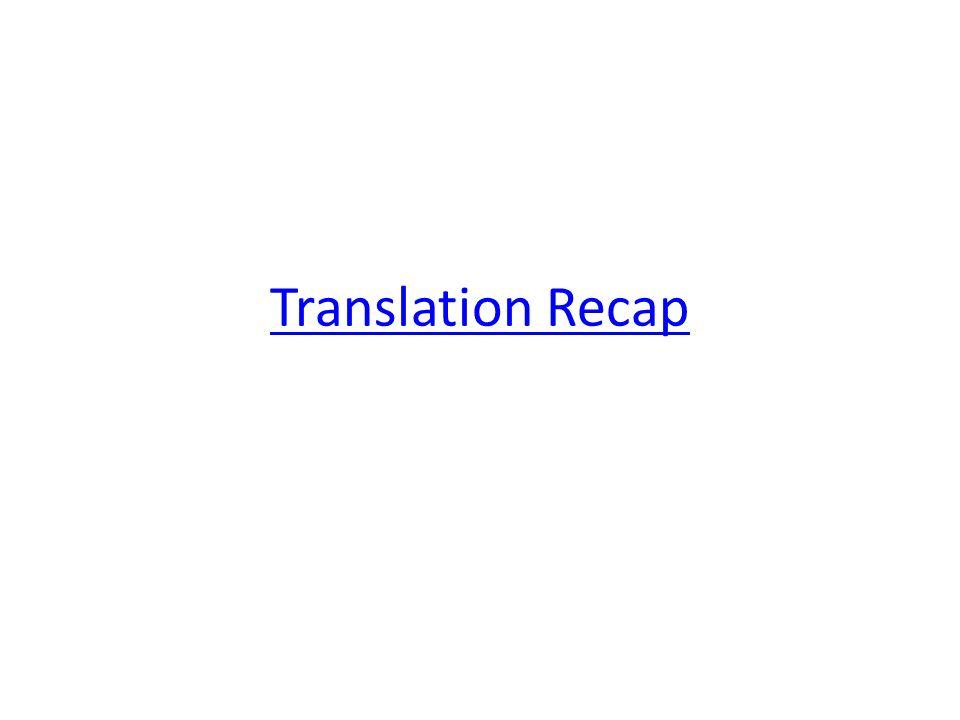 Translation Recap