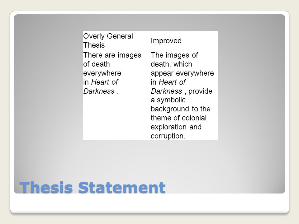 Thesis Statement Overly General Thesis Improved There are images of death everywhere in Heart of Darkness.