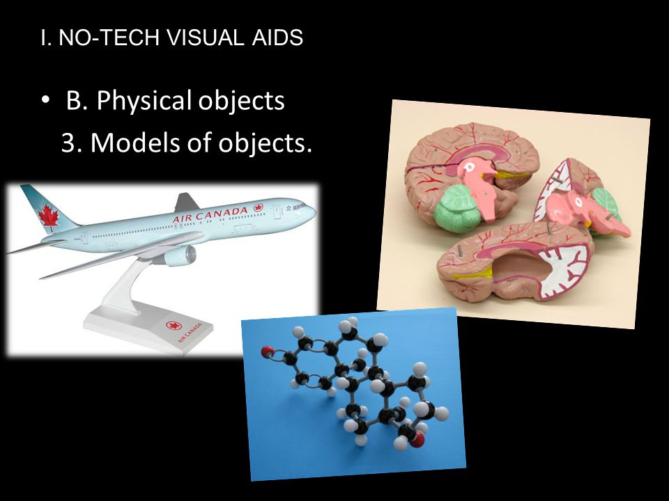 Ⅰ. NO-TECH VISUAL AIDS B. Physical objects 3. Models of objects.