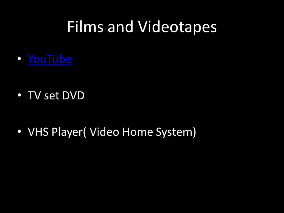 Films and Videotapes YouTube TV set DVD VHS Player( Video Home System)