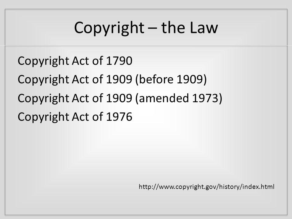Copyright – the Law U.S.