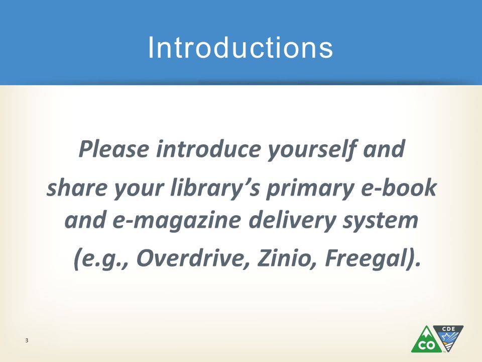 Please introduce yourself and share your library's primary e-book and e-magazine delivery system (e.g., Overdrive, Zinio, Freegal).