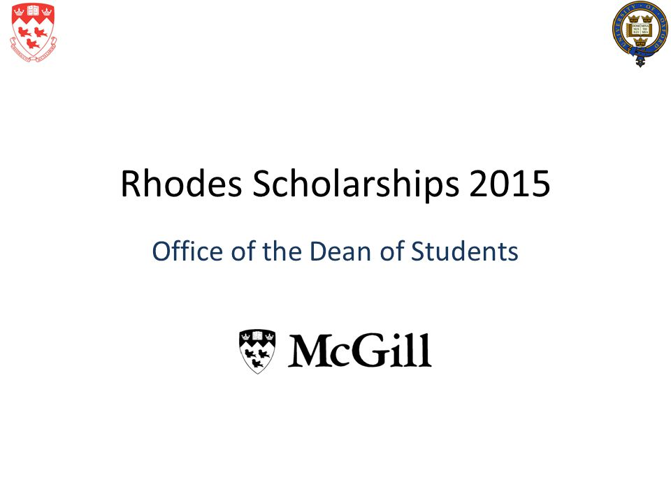 Rhodes Scholarships 2015 Office of the Dean of Students