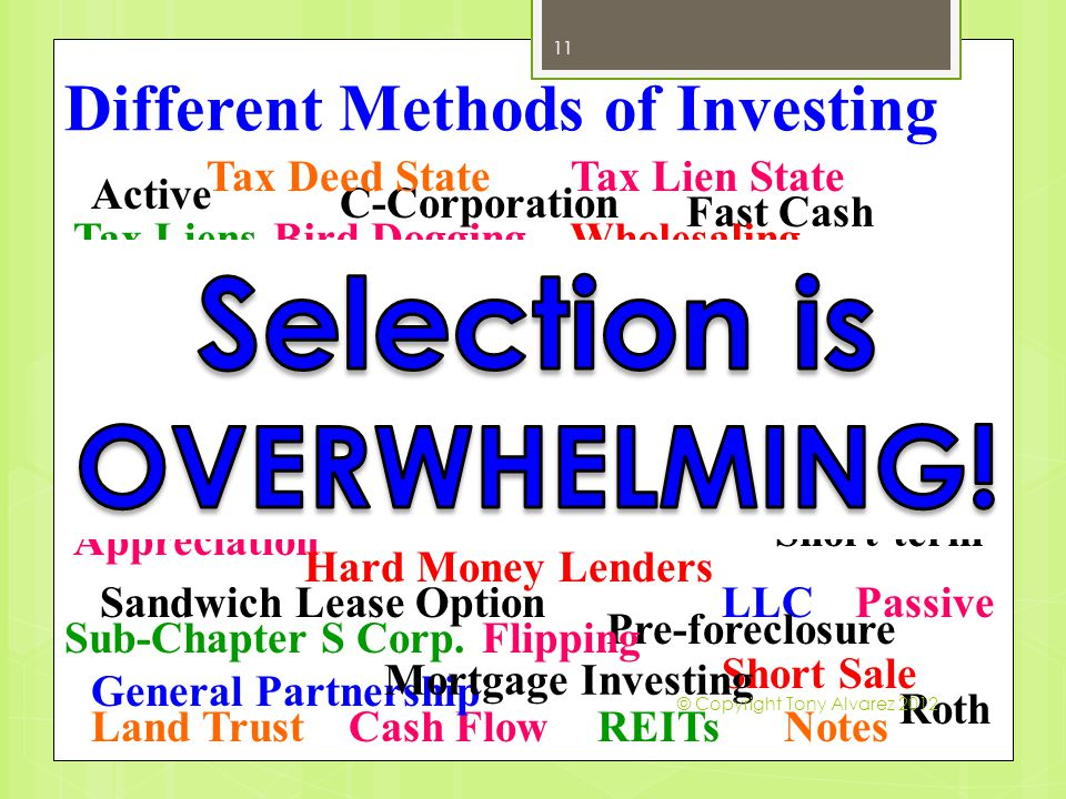 Different Methods of Investing 11 Active Passive Direct Indirect Short-term Long-term Fast Cash Cash Flow Appreciation Depreciation IRA Roth Individually Entity LLC C-Corporation Sub-Chapter S Corp.