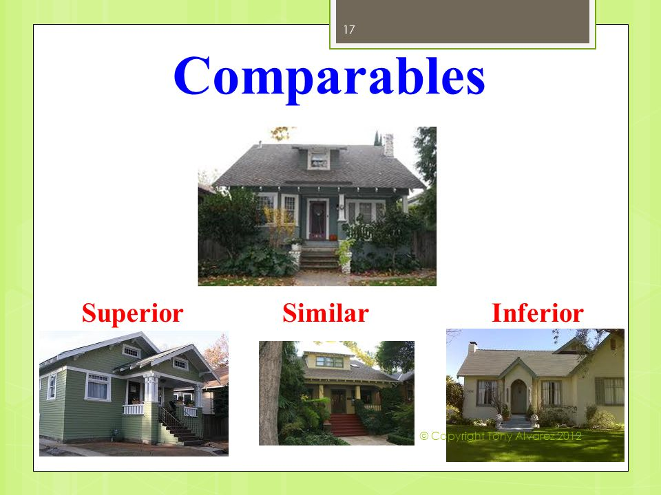 Comparables Definition: Able to be likened to another; similar; Of equivalent quality worthy of comparison 17 SuperiorSimilarInferior © Copyright Tony