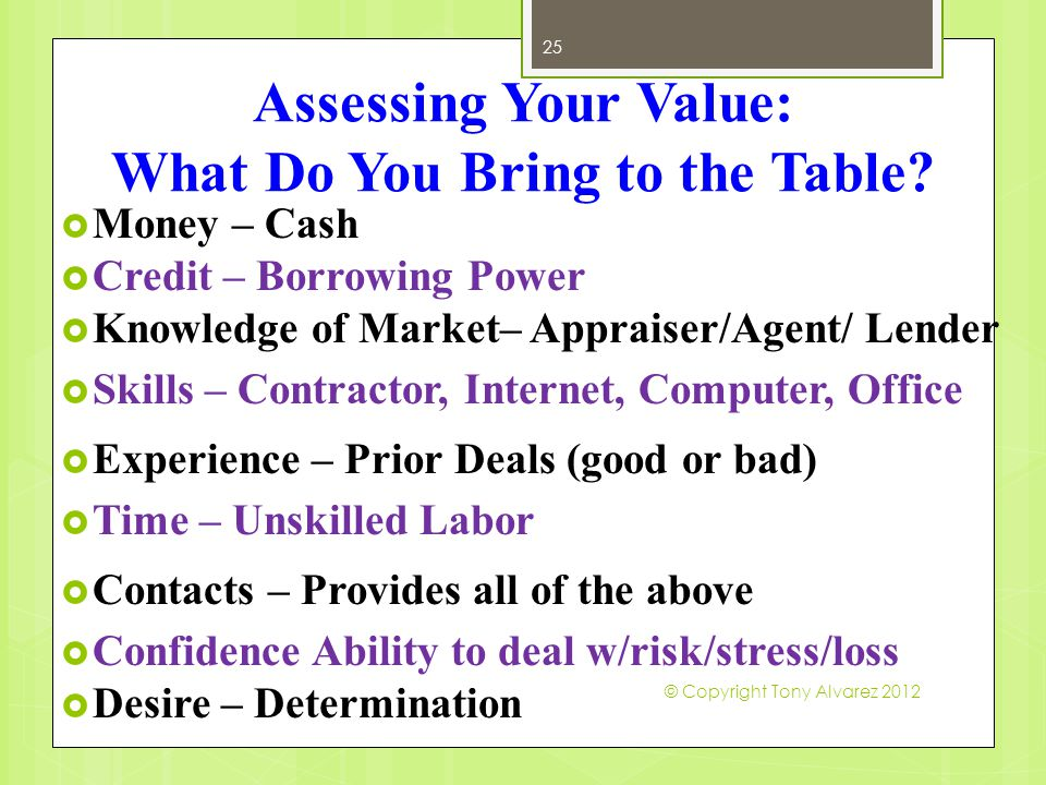 Assessing Your Value: What Do You Bring to the Table.