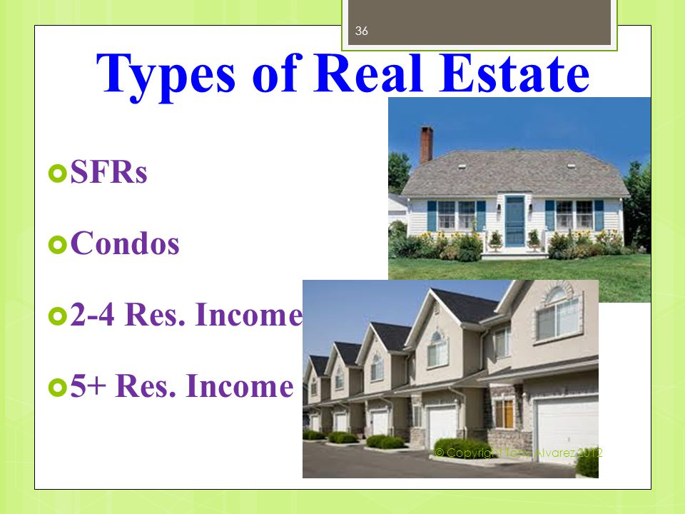 Types of Real Estate 36  SFRs  Condos  2-4 Res.