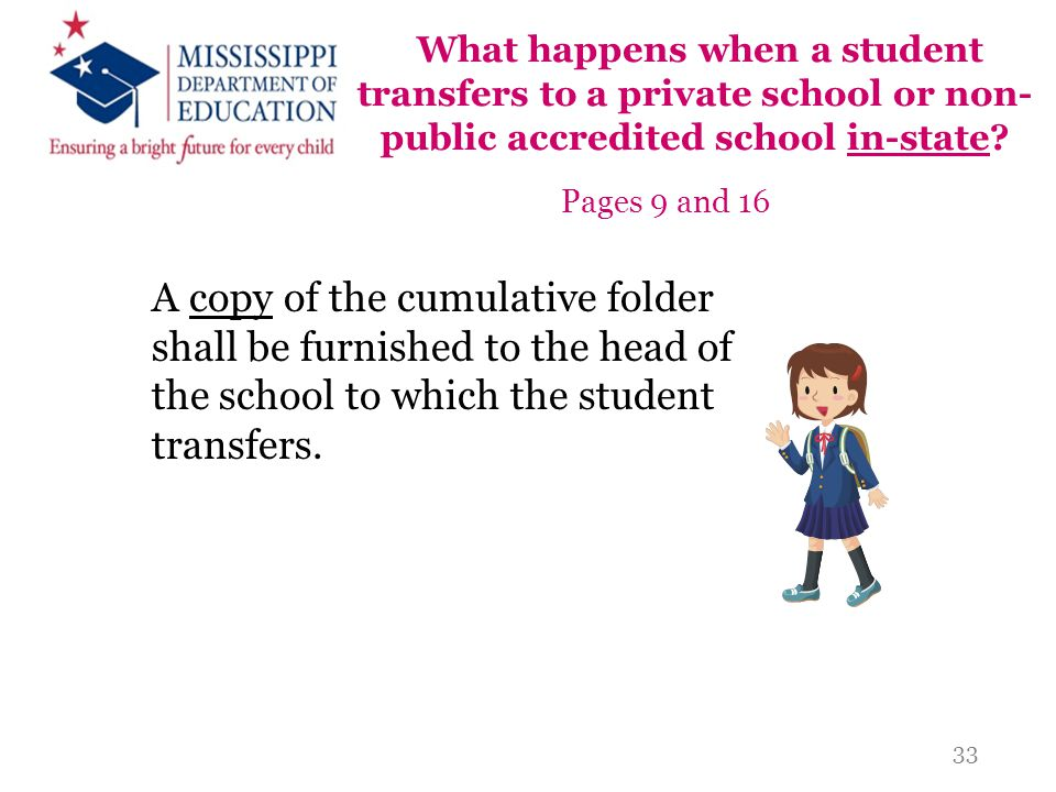 What happens when a student transfers to a private school or non- public accredited school in-state? Pages 9 and 16 A copy of the cumulative folder sh