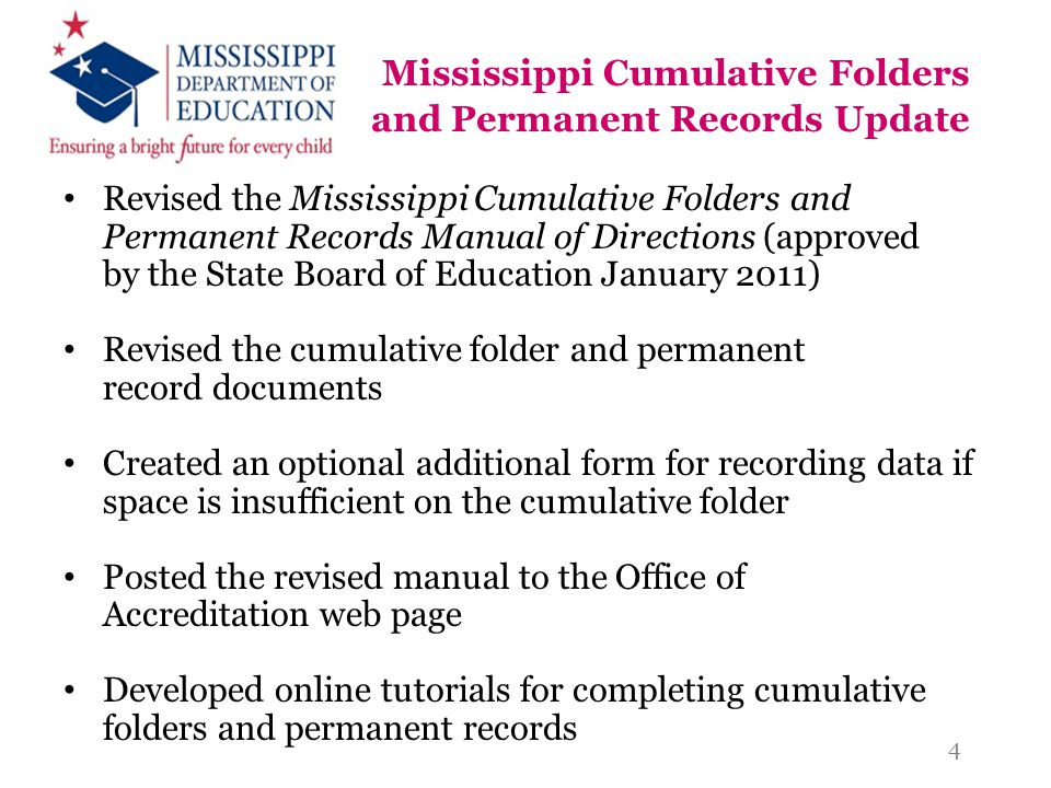 Mississippi Cumulative Folders and Permanent Records Update Revised the Mississippi Cumulative Folders and Permanent Records Manual of Directions (app