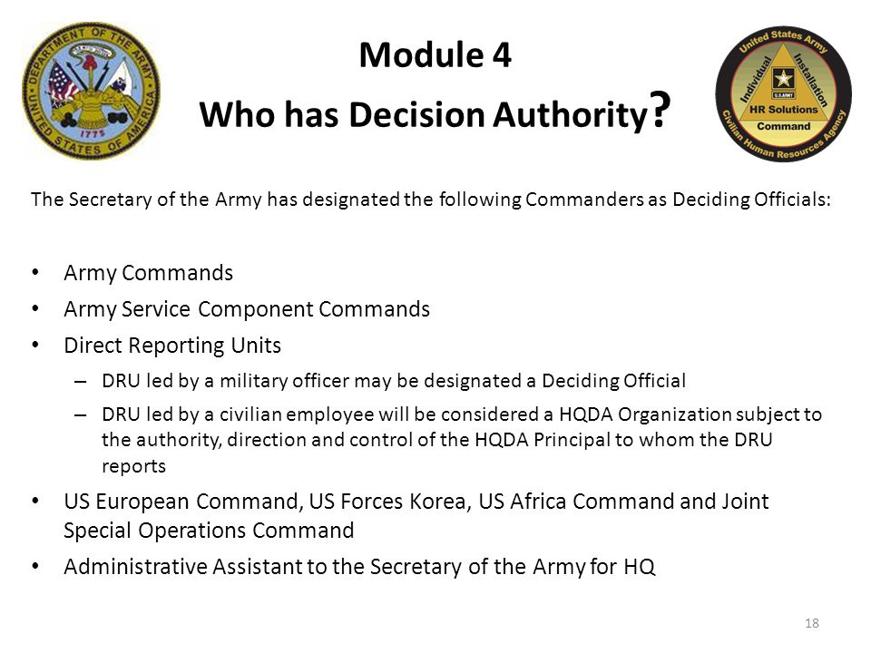 Module 4 Who has Decision Authority .