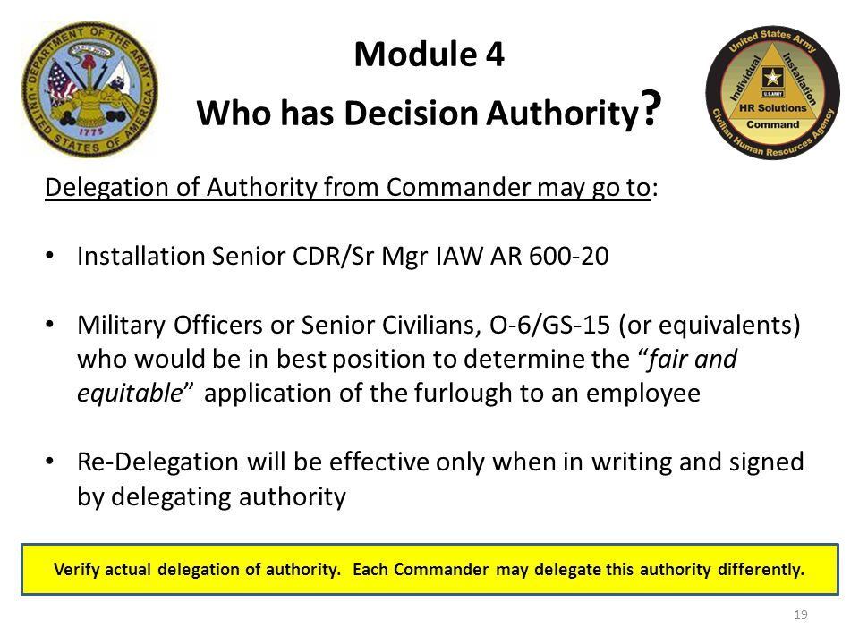 Verify actual delegation of authority. Each Commander may delegate this authority differently.