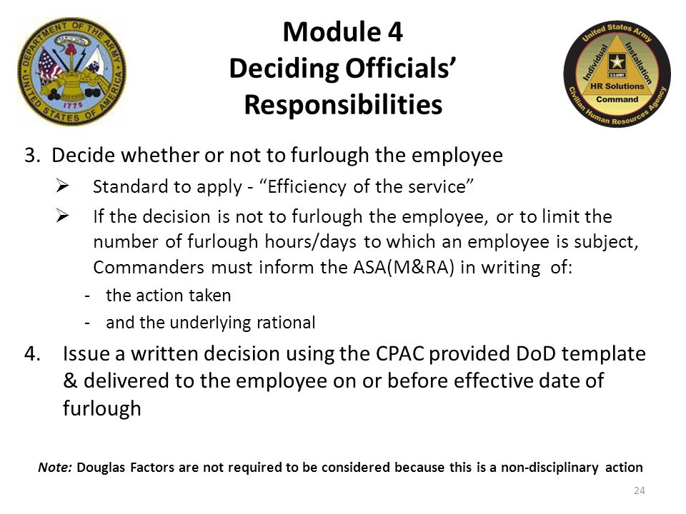 Module 4 Deciding Officials' Responsibilities 3.