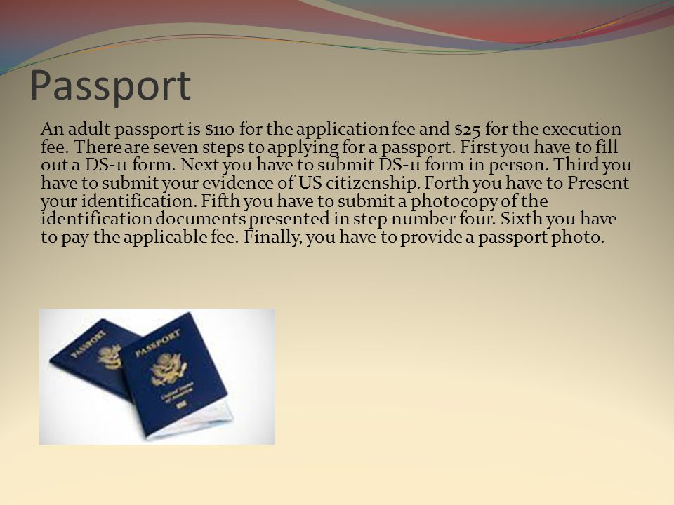 Passport An adult passport is $110 for the application fee and $25 for the execution fee.