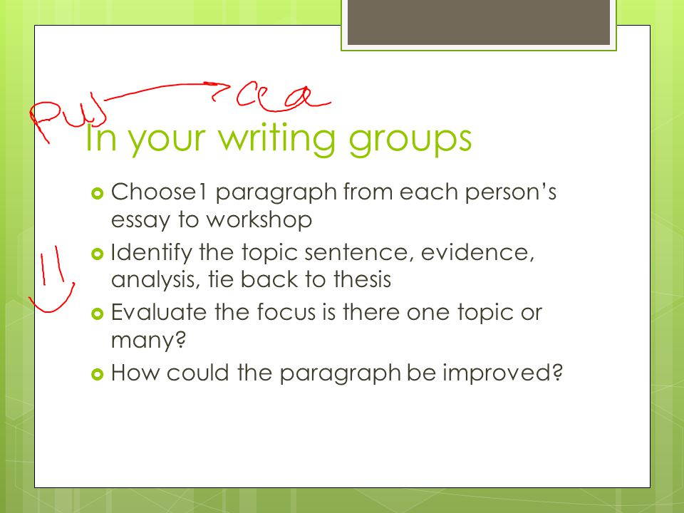 In your writing groups  Choose1 paragraph from each person's essay to workshop  Identify the topic sentence, evidence, analysis, tie back to thesis  Evaluate the focus is there one topic or many.