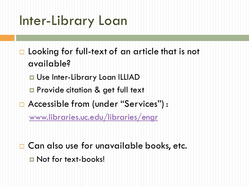 Inter-Library Loan  Looking for full-text of an article that is not available.