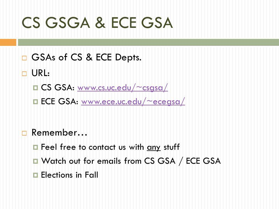 CS GSGA & ECE GSA  GSAs of CS & ECE Depts.