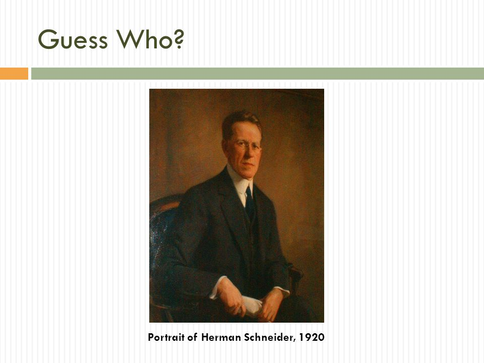 Guess Who? Portrait of Herman Schneider, 1920