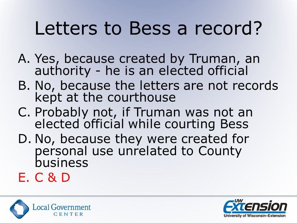 Letters to Bess a record.