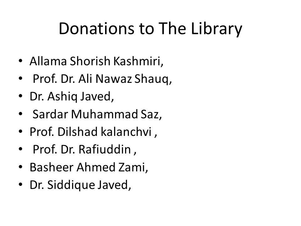 Donations to The Library Allama Shorish Kashmiri, Prof.