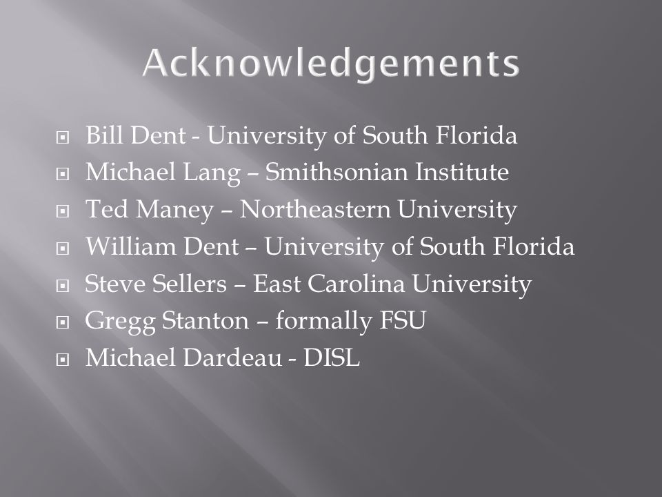  Bill Dent - University of South Florida  Michael Lang – Smithsonian Institute  Ted Maney – Northeastern University  William Dent – University of South Florida  Steve Sellers – East Carolina University  Gregg Stanton – formally FSU  Michael Dardeau - DISL