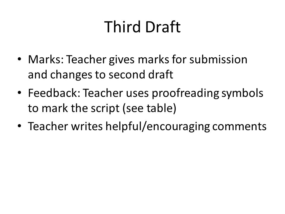 Third Draft Marks: Teacher gives marks for submission and changes to second draft Feedback: Teacher uses proofreading symbols to mark the script (see table) Teacher writes helpful/encouraging comments