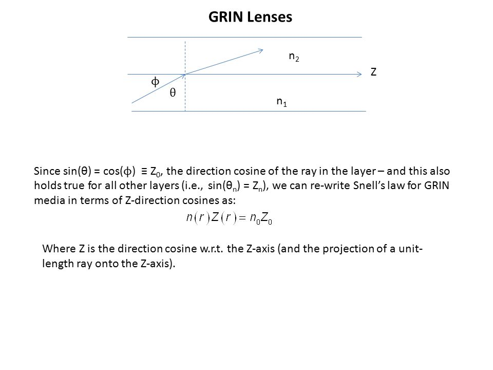 GRIN Lenses Since sin(θ) = cos( ϕ ) ≡ Z 0, the direction cosine of the ray in the layer – and this also holds true for all other layers (i.e., sin(θ n ) = Z n ), we can re-write Snell's law for GRIN media in terms of Z-direction cosines as: θ ϕ Z n1n1 n2n2 Where Z is the direction cosine w.r.t.