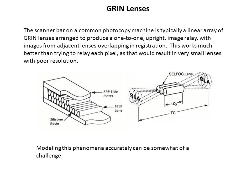 GRIN Lenses The scanner bar on a common photocopy machine is typically a linear array of GRIN lenses arranged to produce a one-to-one, upright, image relay, with images from adjacent lenses overlapping in registration.