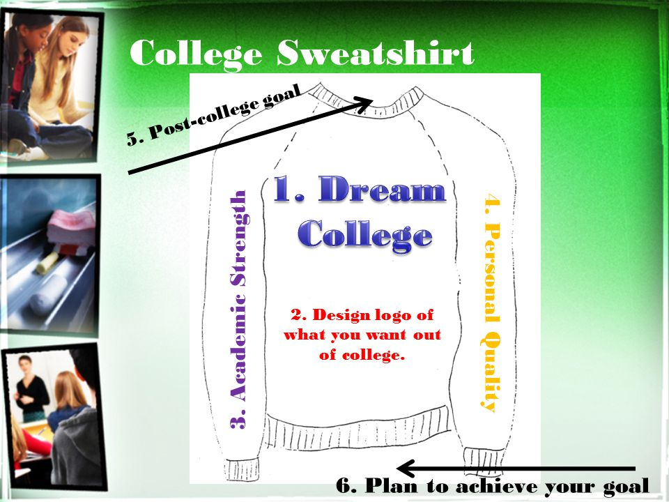 College Sweatshirt 2.Design logo of what you want out of college.