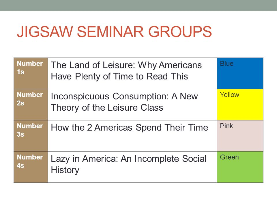 JIGSAW SEMINAR GROUPS Number 1s The Land of Leisure: Why Americans Have Plenty of Time to Read This Blue Number 2s Inconspicuous Consumption: A New Th