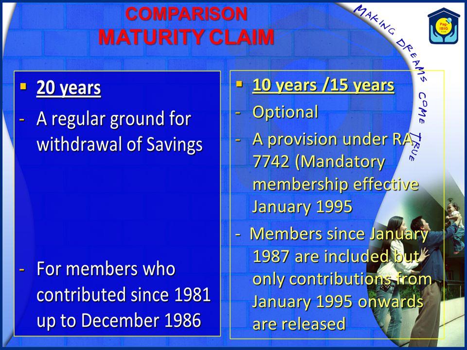 COMPARISON MATURITY CLAIM