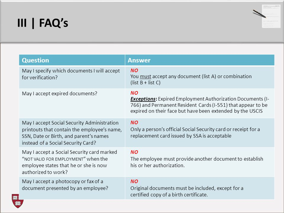 III | FAQ's QuestionAnswer May I specify which documents I will accept for verification.