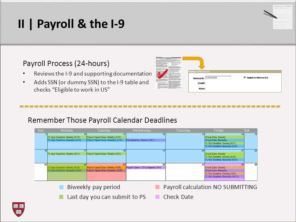 II | Payroll & the I-9 Payroll Process (24-hours) Reviews the I-9 and supporting documentation Adds SSN (or dummy SSN) to the I-9 table and checks Eligible to work in US Remember Those Payroll Calendar Deadlines Biweekly pay period Last day you can submit to PS Payroll calculation NO SUBMITTING Check Date