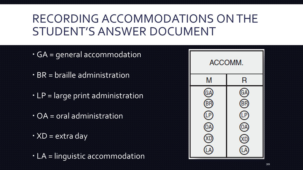 RECORDING ACCOMMODATIONS ON THE STUDENT'S ANSWER DOCUMENT  GA = general accommodation  BR = braille administration  LP = large print administration  OA = oral administration  XD = extra day  LA = linguistic accommodation 20