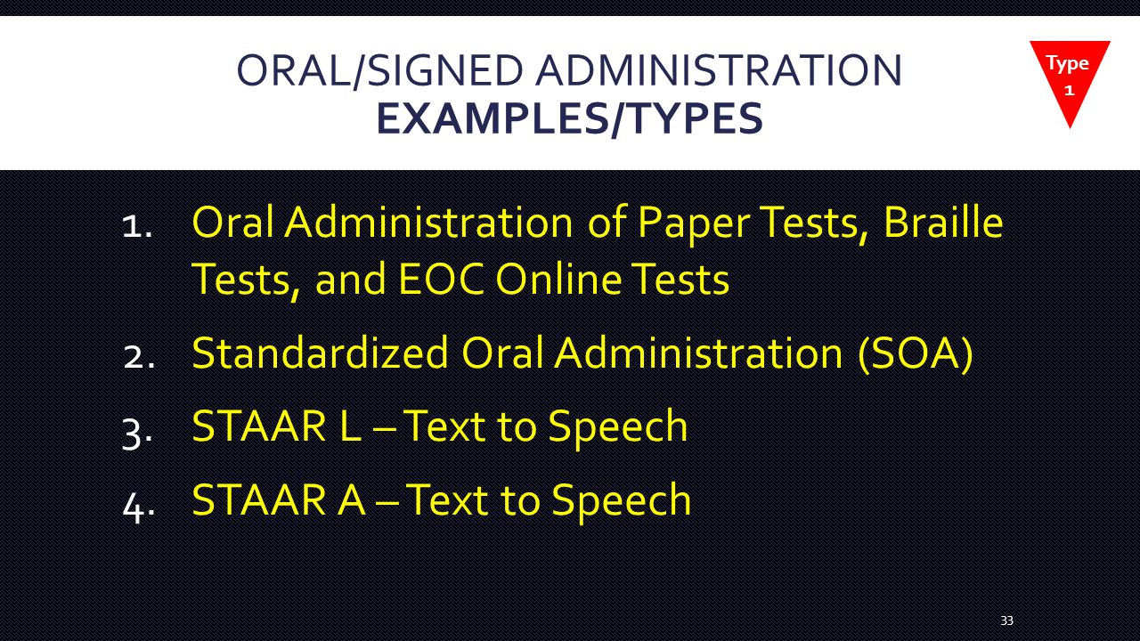 ORAL/SIGNED ADMINISTRATION EXAMPLES/TYPES 1.Oral Administration of Paper Tests, Braille Tests, and EOC Online Tests 2.Standardized Oral Administration (SOA) 3.STAAR L – Text to Speech 4.STAAR A – Text to Speech 33 Type 1