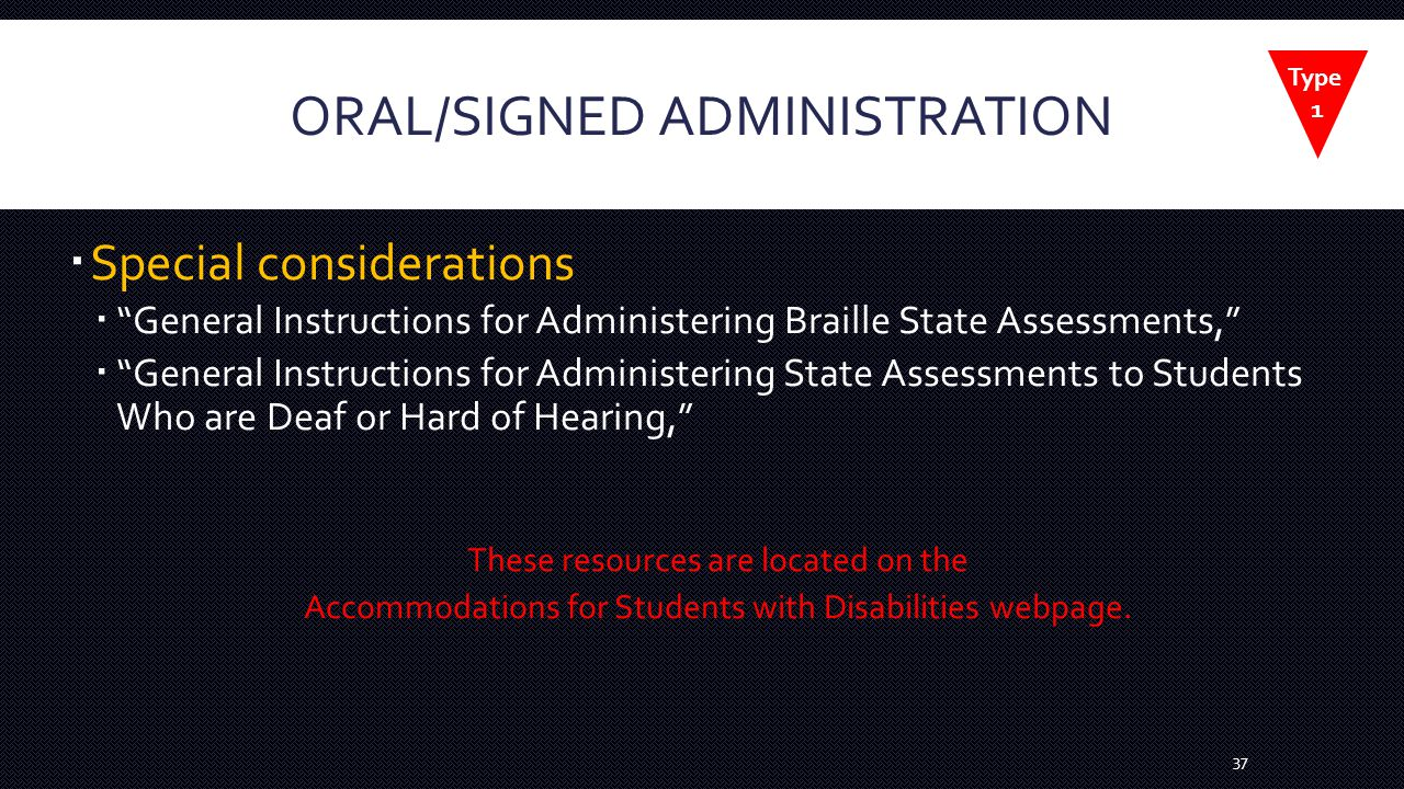 ORAL/SIGNED ADMINISTRATION  Special considerations  General Instructions for Administering Braille State Assessments,  General Instructions for Administering State Assessments to Students Who are Deaf or Hard of Hearing, These resources are located on the Accommodations for Students with Disabilities webpage.