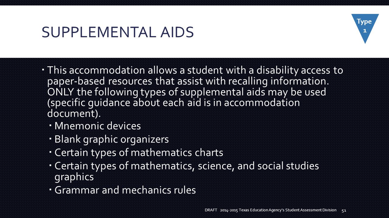 SUPPLEMENTAL AIDS  This accommodation allows a student with a disability access to paper-based resources that assist with recalling information.