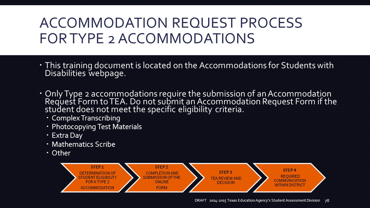 ACCOMMODATION REQUEST PROCESS FOR TYPE 2 ACCOMMODATIONS  This training document is located on the Accommodations for Students with Disabilities webpage.