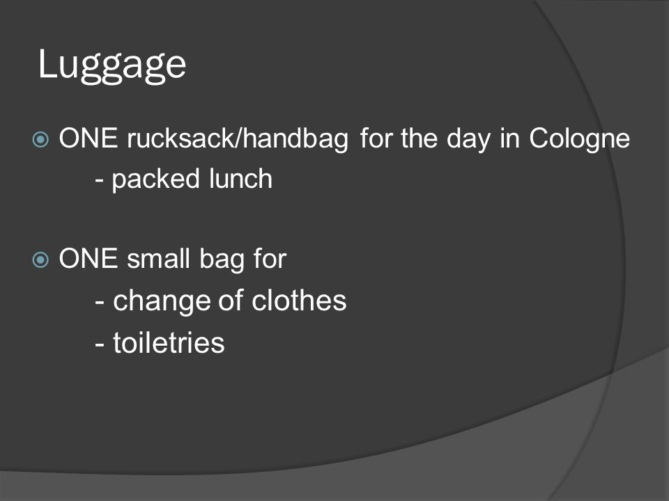 Luggage  ONE rucksack/handbag for the day in Cologne - packed lunch  ONE small bag for - change of clothes - toiletries