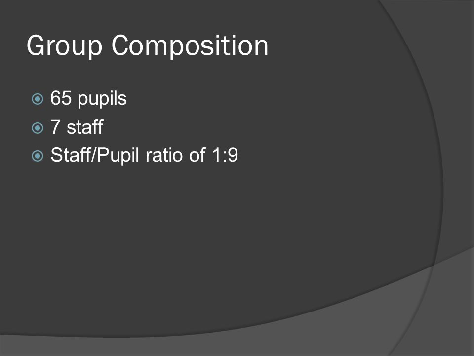 Group Composition  65 pupils  7 staff  Staff/Pupil ratio of 1:9