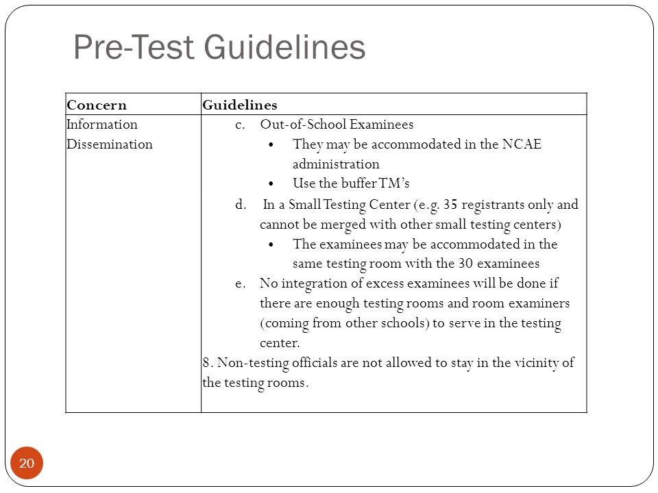 Pre-Test Guidelines 20 ConcernGuidelines Information Dissemination c.Out-of-School Examinees They may be accommodated in the NCAE administration Use t