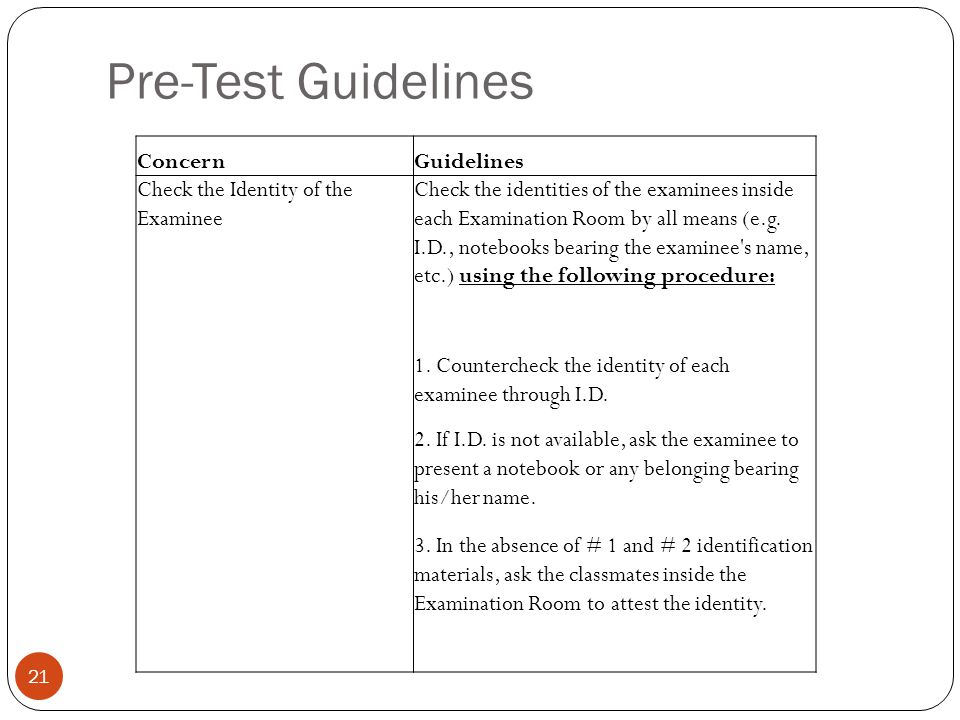 Pre-Test Guidelines 21 ConcernGuidelines Check the Identity of the Examinee Check the identities of the examinees inside each Examination Room by all means (e.g.