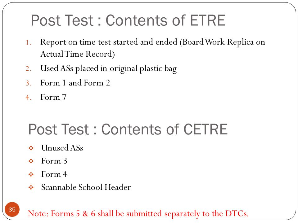 Post Test : Contents of ETRE 35 1. Report on time test started and ended (Board Work Replica on Actual Time Record) 2. Used ASs placed in original pla