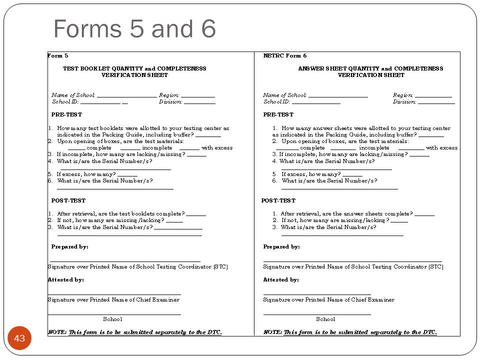 Forms 5 and 6 43
