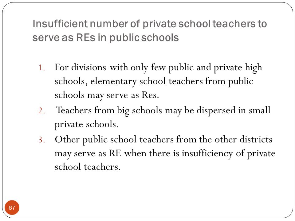 Insufficient number of private school teachers to serve as REs in public schools 67 1.