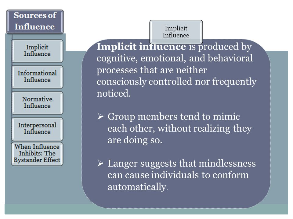 Implicit influence is produced by cognitive, emotional, and behavioral processes that are neither consciously controlled nor frequently noticed.