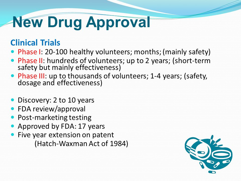 New Drug Approval Clinical Trials Phase I: healthy volunteers; months; (mainly safety) Phase II: hundreds of volunteers; up to 2 years; (short-term safety but mainly effectiveness) Phase III: up to thousands of volunteers; 1-4 years; (safety, dosage and effectiveness) Discovery: 2 to 10 years FDA review/approval Post-marketing testing Approved by FDA: 17 years Five year extension on patent (Hatch-Waxman Act of 1984)