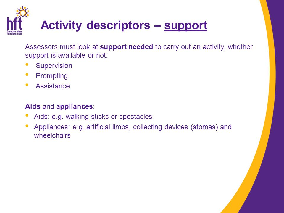 Activity descriptors – support Assessors must look at support needed to carry out an activity, whether support is available or not: Supervision Prompt