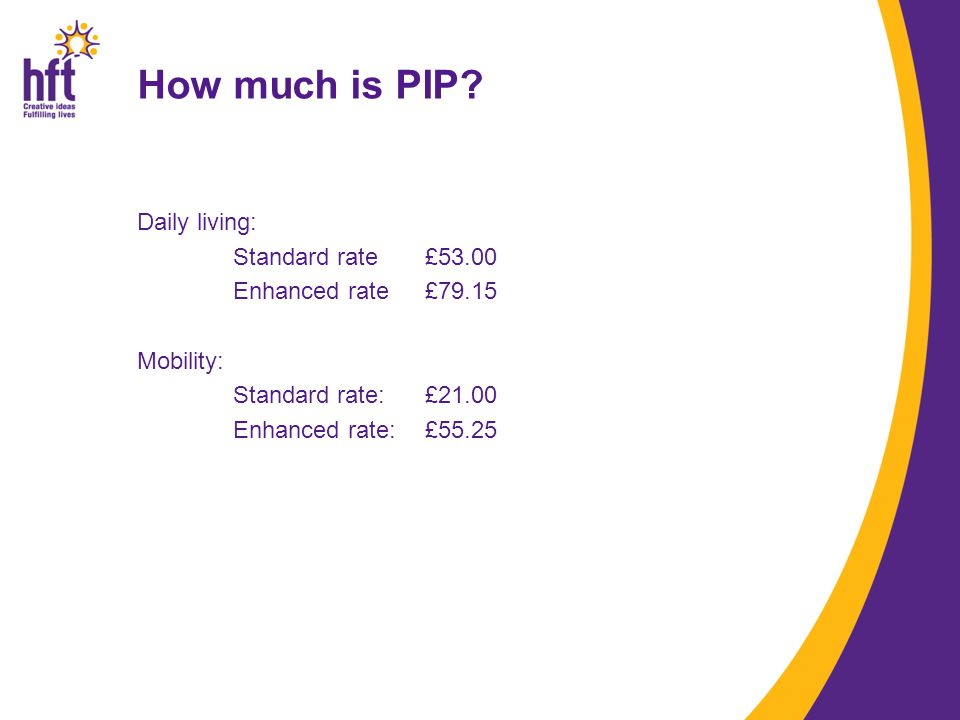 Daily living: Standard rate£53.00 Enhanced rate£79.15 Mobility: Standard rate: £21.00 Enhanced rate: £55.25 How much is PIP