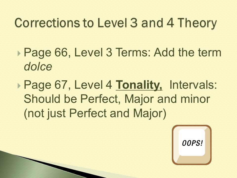  Page 66, Level 3 Terms: Add the term dolce  Page 67, Level 4 Tonality, Intervals: Should be Perfect, Major and minor (not just Perfect and Major)