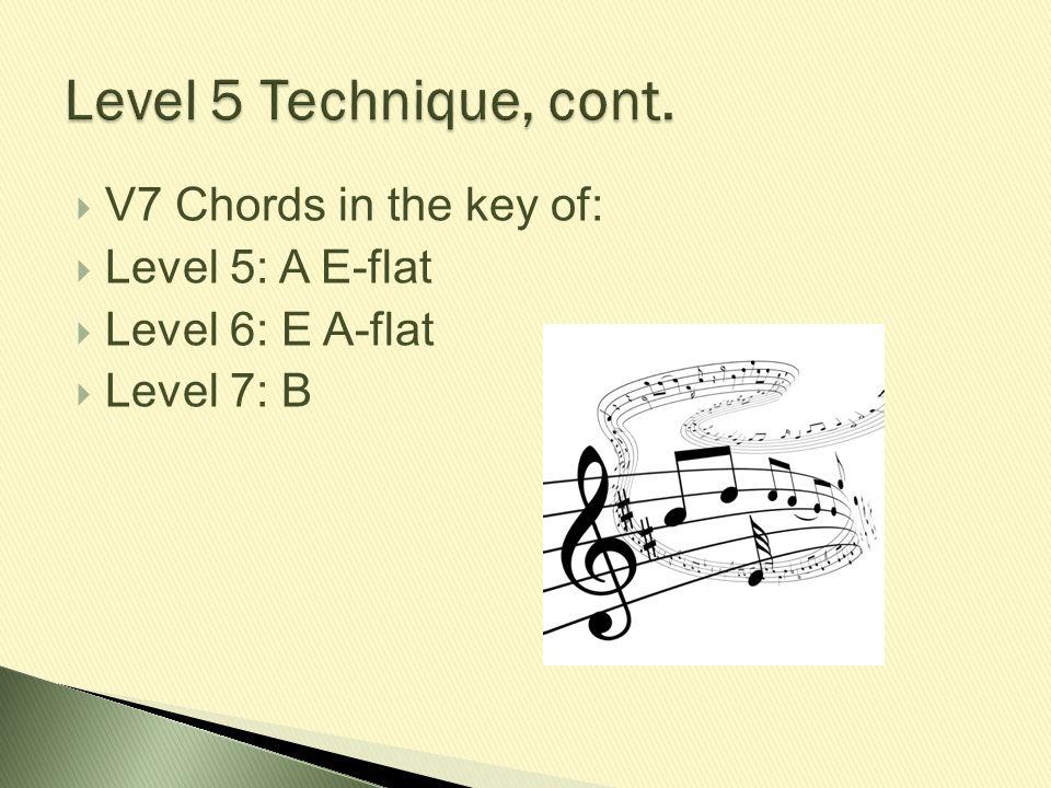  V7 Chords in the key of:  Level 5: A E-flat  Level 6: E A-flat  Level 7: B